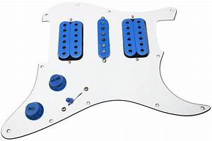Loaded Hsh Strat Pickguard  Dimarzio Evolution Set  Vai Wiring  White  Blue