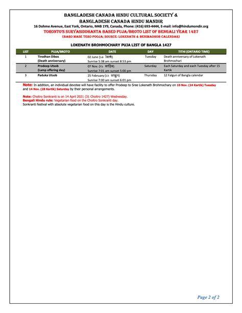 list  event bangladesh canada hindu cultural society