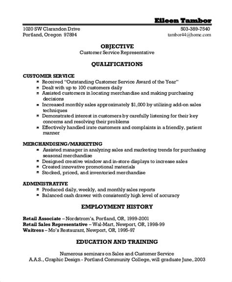 resume customer service objective sles sle resume objective 9 exles in pdf