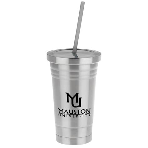 imprintcom stainless steel tumbler  colored straw