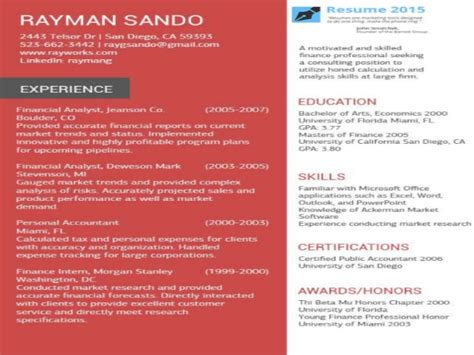 resume templates to use in 2015
