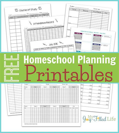 homeschool planning resources free printable planning