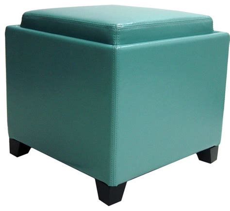 cube ottoman with tray contemporary storage ottoman with tray blue