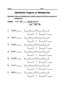 distributive property of multiplication worksheets common core aligned