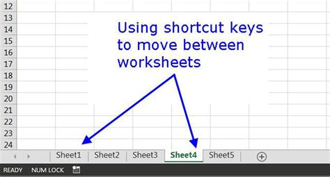 shortcut  switch worksheet tabs  excel