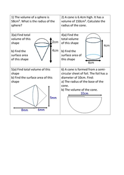 volume and surface area of 3d shapes revision mat