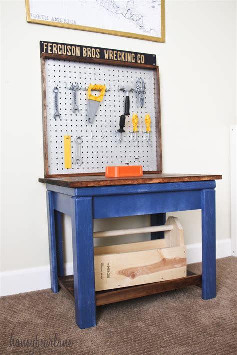 Boys Work Bench - workbench from table honeybear