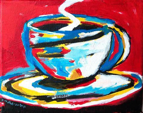 Coffee cup acrylic painting tutorial live easy beginner. Nancy Rourke Paintings — Coffee Cups Paintings