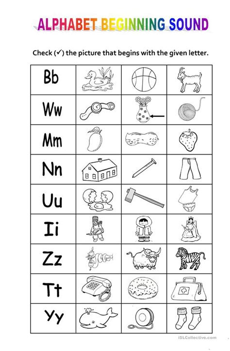 alphabet beginning sound worksheet  esl printable