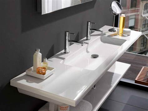 small trough bathroom sink with two faucets trough sink looks in every bathroom useful reviews