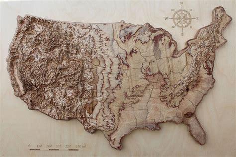 terrain wooden map  usa    wooden map wall