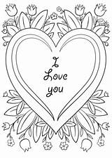 Coloring Card Valentine Printable Valentines Cards Drawing Categories Supercoloring sketch template