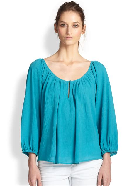 marni blouse lyst joie cotton crepe peasant blouse in blue