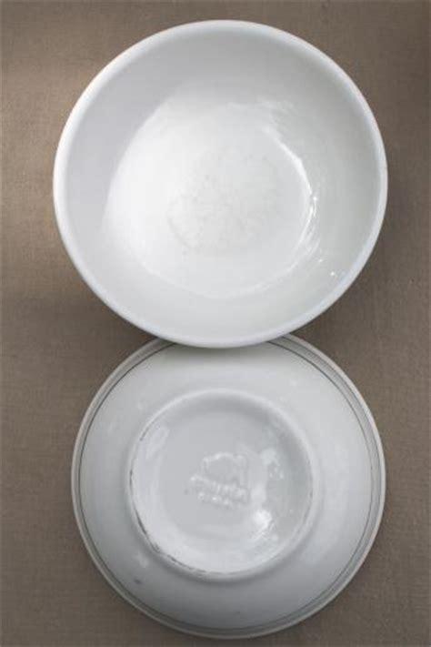 vintage Buffalo china bowls, green band white ironstone