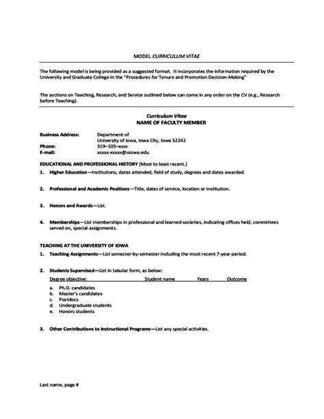 model curriculum vitae university  iowa