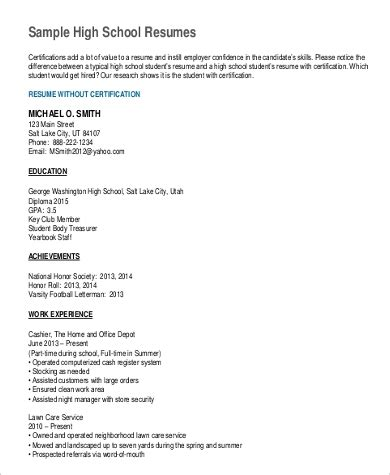 sample resume  high school student  ms word