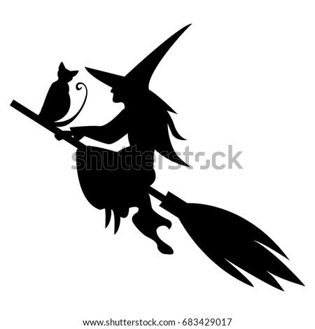 funny magic silhouette witch cat flying stock vector