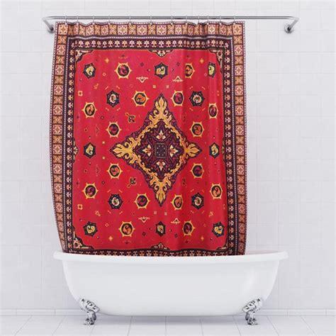 persian rug shower curtain  green head
