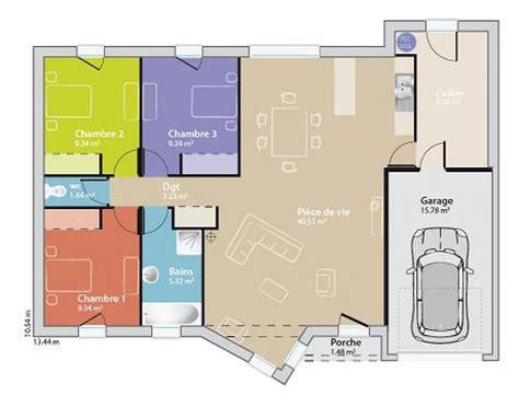 plan maison plain pied moderne toit plat mc immo
