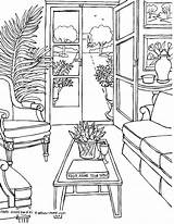 Coloring Rooms Living Adults Adult Drawings Fredgonsowskigardenhome Sheets sketch template