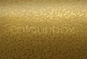 Golden brocade fabric floral texture background Stock