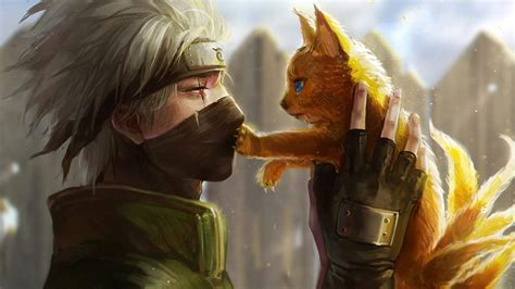 Anime Pictures Wallpaper Kakashi - anime boy and cat wallpaper for desktop