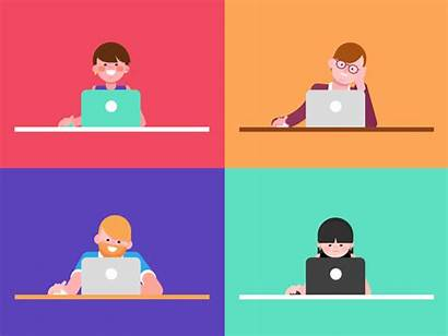 Laptop Dribbble Characters Employees Test Comprehension Animation