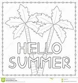 Coloring Hello Palm Trees Drawn sketch template