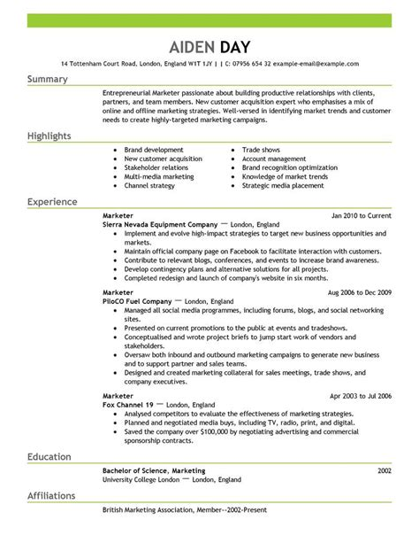 Brand Marketing Manager Resume Format by Resume Format Marketing Professional Marketing Cv Exle
