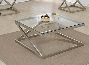 Ollie brushed nickel clear glass coffee table for Brushed nickel coffee table