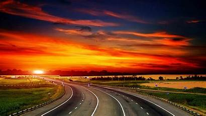 Sunset Road Background Side Wallpapers Backgrounds Highway