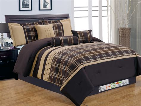 7 plaid striped embroidery satin comforter set coffee