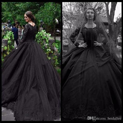 Discount Gothic 2017 New Black Long Sleeve Wedding Dresses
