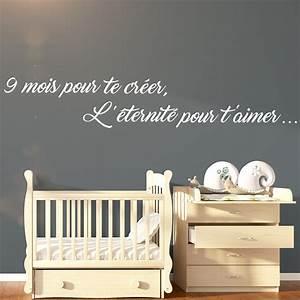 sticker citation 9 mois pour te creer l39eternite pour t With chambre bébé design avec abonnement fleurs tous les mois