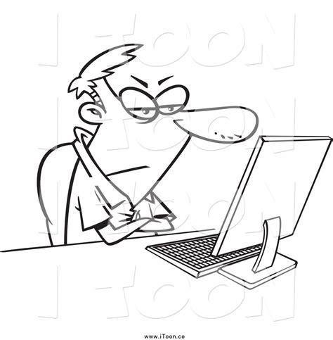 bw it help desk royalty free cartoon of a black and white grumpy man