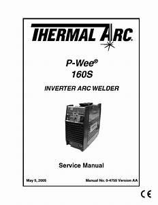 Thermal Arc 160s Inverter Welder Sm Service Manual