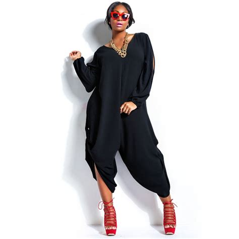 Women Fashion Plus Size Jumpsuit Outfit Party Clubwear Bodysuit One Piece Rompers Solid Color ...