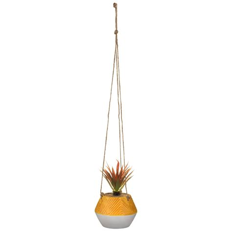 hanging plant  embossed pot ochre artificial plants