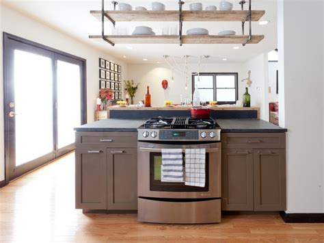 contemporary kitchen  ceiling hung shelving hgtv