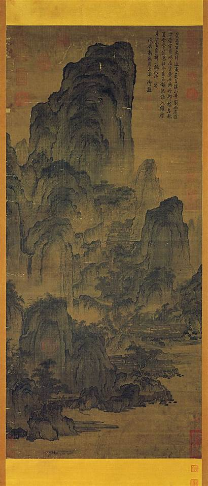 Streams Mountains Yan Wengui Painting Pavilions Among