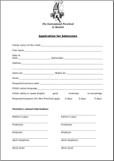 preschool application printable daycare applications appli 679 | Application