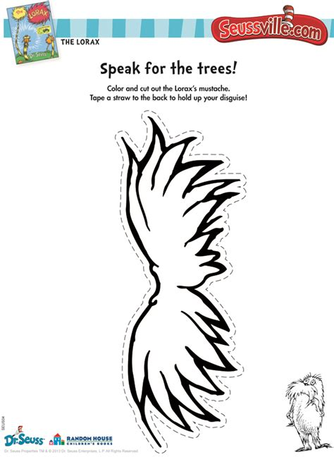 lorax mustache template 7 best images of printable lorax crafts free printable lorax crafts lorax template