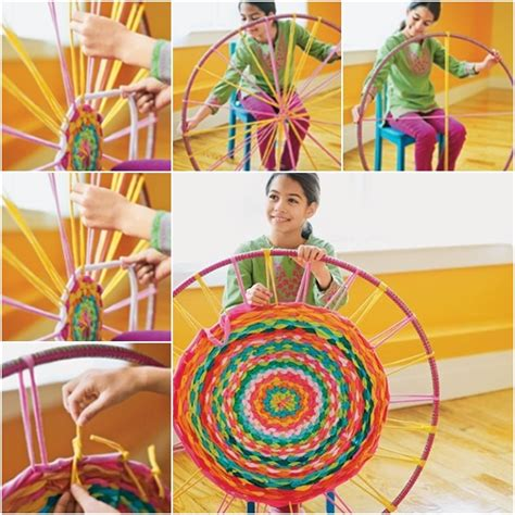 Rag Rugs To Make by How To Weave Hula Hoop Rug From T Shirt