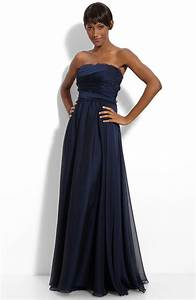 Gorgeous navy blue strapless bridesmaid dress with fringe ...