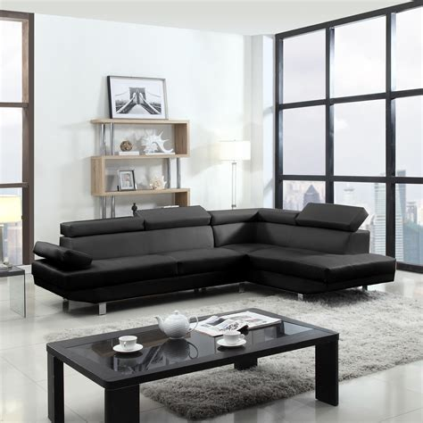 Modern Contemporary Sectional Sofa by 2 Contemporary Modern Faux Leather Black Sectional Sofa