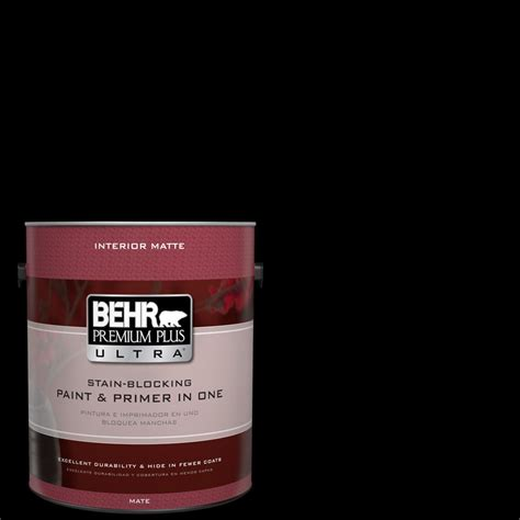 behr premium plus ultra 1 gal black matte interior paint and primer in one 175301 the home depot