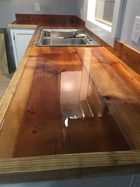 reclaimed wood kitchen countertops sealed  epoxy