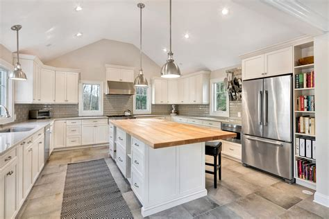 transitional kitchen  cathedral ceiling ocean
