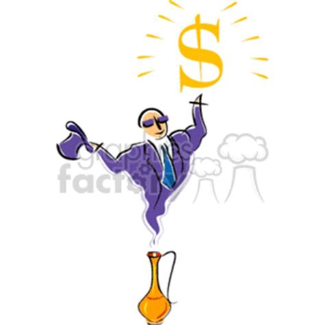 royalty  genie  dollar sign  vector clip art