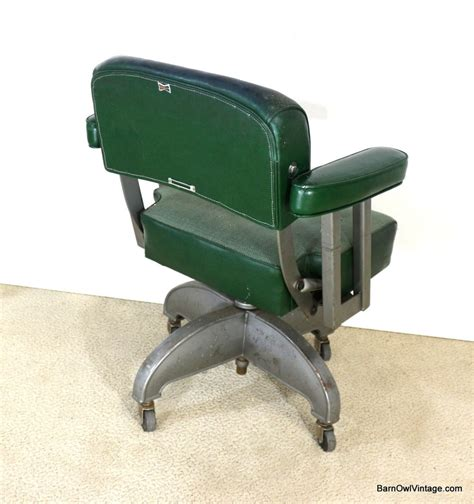 1940s office chair industrial vintage forest green metal